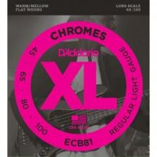 D'Addario Ecb81 Chromes Bass Light Long Scale 45-100
