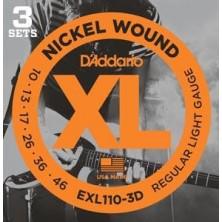 D'Addario Exl110 - Xl Regular Light 3 Sets