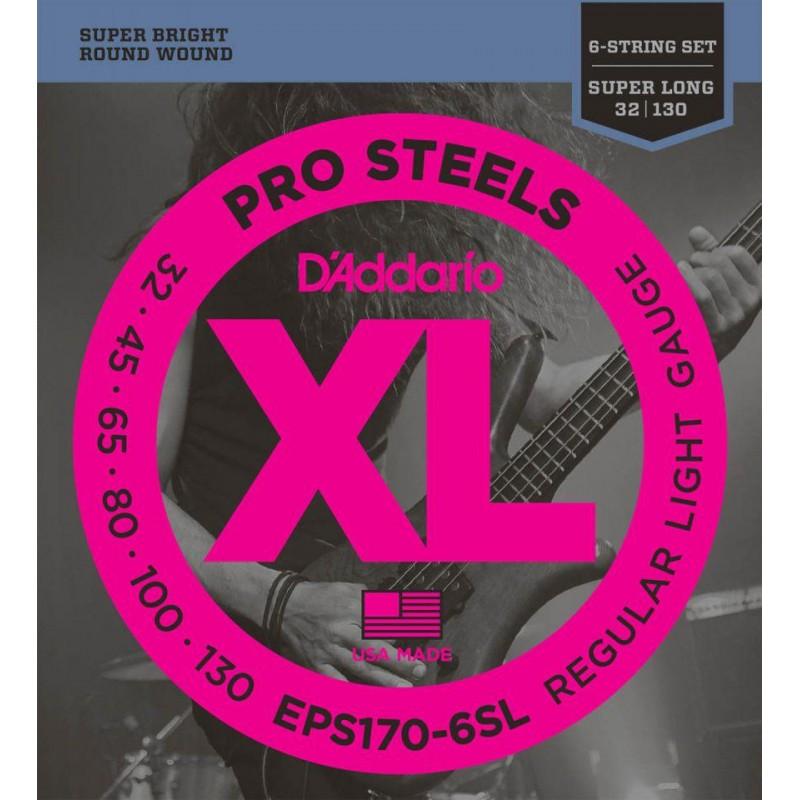 D'addario EPS170-6SL Pro Steels Regular Light Super Long 32-130