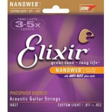 Elixir Nanoweb Phosphor Bronze Cel16027 Custom Light 11-52