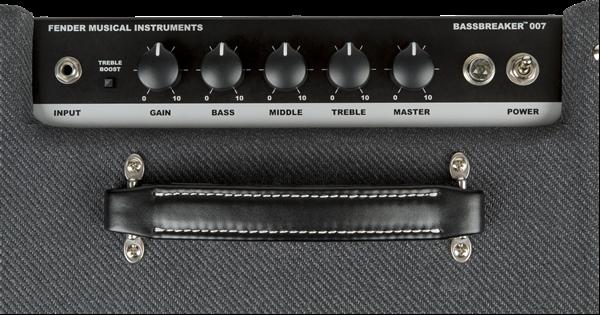 Vista desde arriba de los controles del Fender Bassbreaker 007