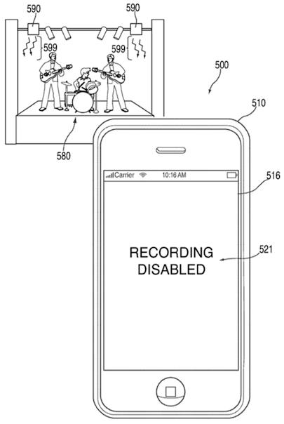 Esbozo de la tecnología de Apple que impide la grabación de conciertos