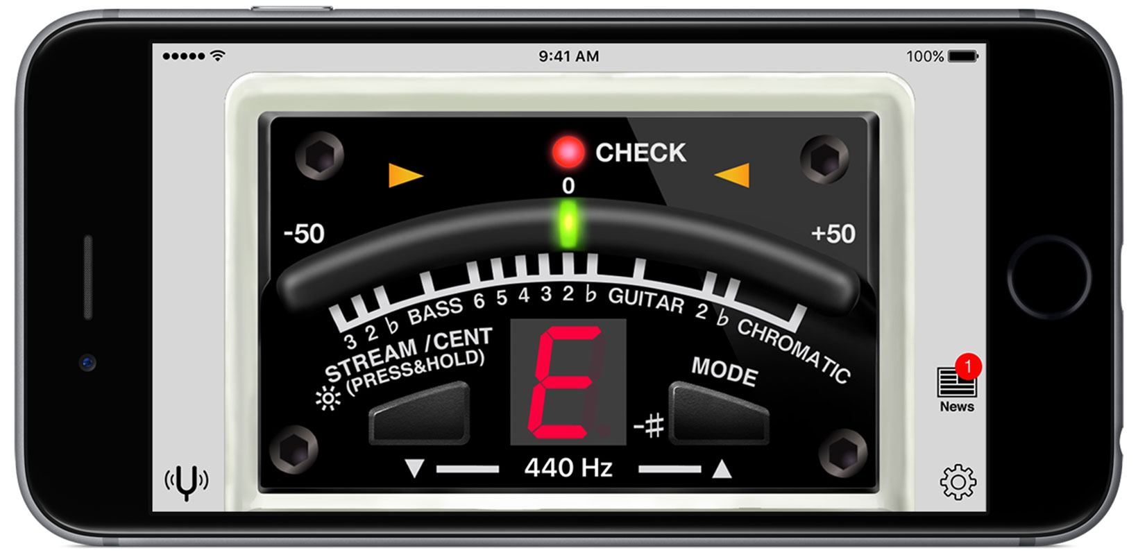 BOSS Tuner App en horizontal