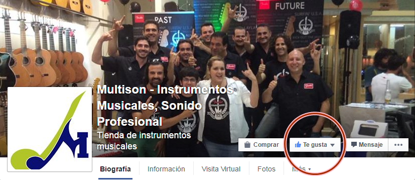 Dar me gusta al Facebook de Multison