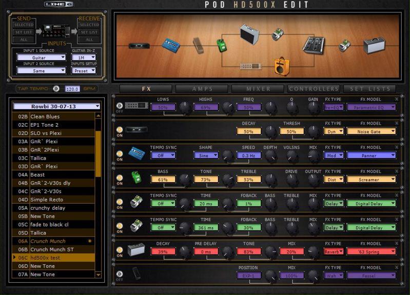 Line 6 POD HD500X (editor desde PC/Mac)