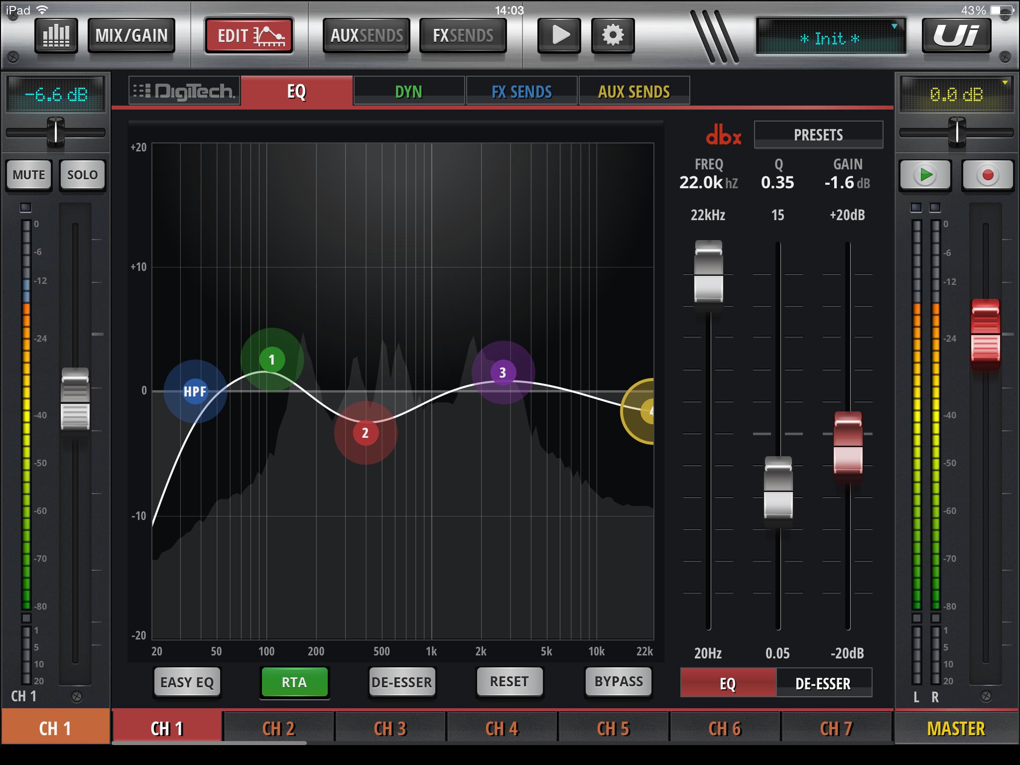 Interfaz gráfica de las mezcladoras Soundcraft Ui12 y Ui16