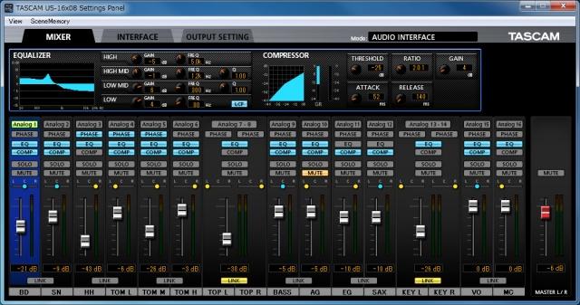 Interfaz de software de Tascam US-16x08
