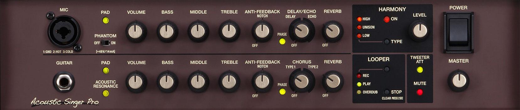 Boss Acoustic Singer Pro/Live - Panel de control